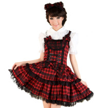 Knee-length Dress With Sling And Lace Shirt Princess Lolita Dress Anime Cosplay Custome.