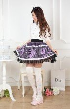 Lace Purple Customized Knee-length Sweet Lolita Pleated Skirt with Guardian Angels Prints Lolita Fas