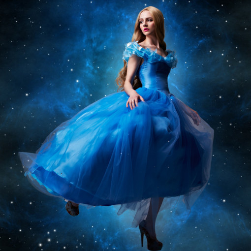 2015 Newest Movie Cinderella Princess Dress Blue Cinderella Cosplay Costume
