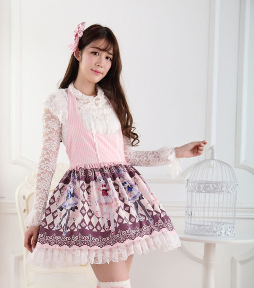 Sleeveless Knee-length Pink Princess Dress Sweet Lolita Dress Customize