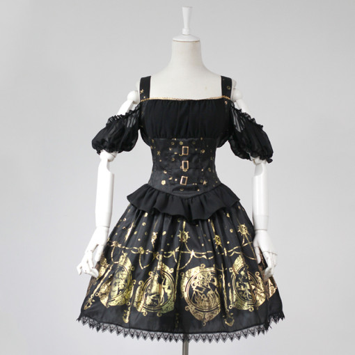 Rulercosplay Customized Hot Stamping Polyester Off Shoulder Puff Sleeves Lolita Braces Dress 3 Color