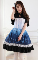 Short Sleeves Knee-length Blue and Black Princess Dress Sweet Lolita Dress Customize Anime Cosplay C