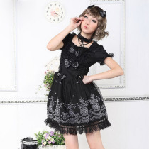Black Knee-length Dress with Short Sleeve Lace Lolita Dress Anime Cosplay Custome.