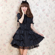 New Style Polyester  Knee-length Dress with Lace and Bowknots Short Sleeve Sweet Lolita Dress