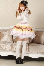 Pleated Yellow Knee-length Lace Sweet Lolita Skirt with Cakes Prints Lolita Fashion