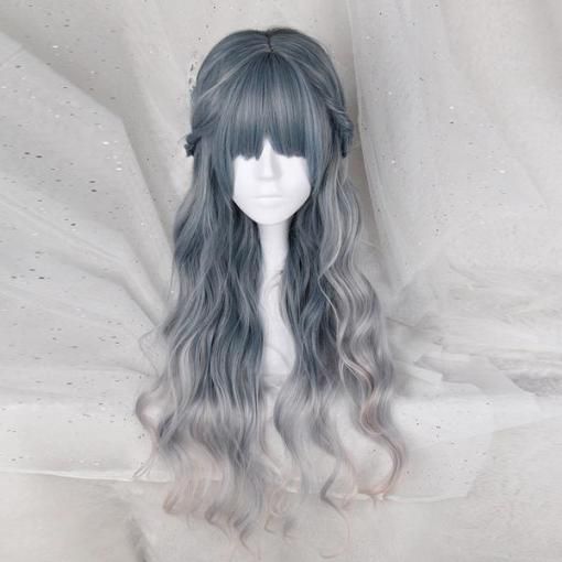 Rulercosplay Sweet Harajuku Original Long Curly Cyan And Light Purple Mixed Ombre Lolita Wigs