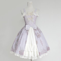 Rulercosplay Customized Palace Bowknot Lace-up Lolita Chiffon Violet Braces Dress Anime Cosplay Cost