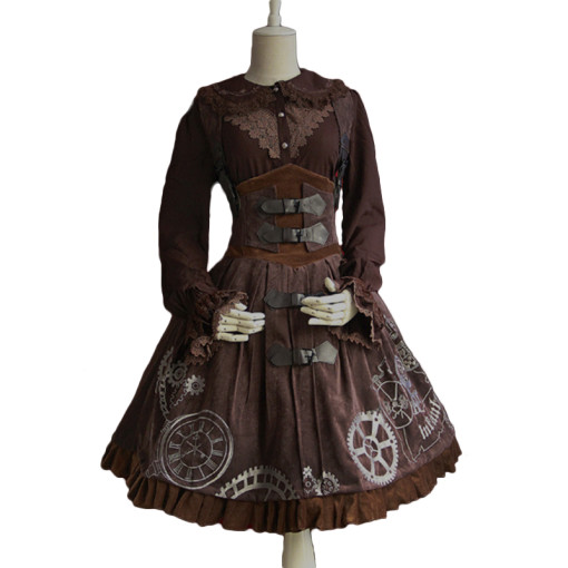 Lolita Fashion Velvet Long Sleeve Punk Lolita Dress