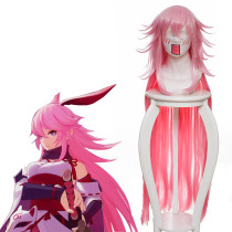 Rulercosplay MmiHoYo Yae Sakura Long Light Pink Gradients Anime Cosplay Wigs