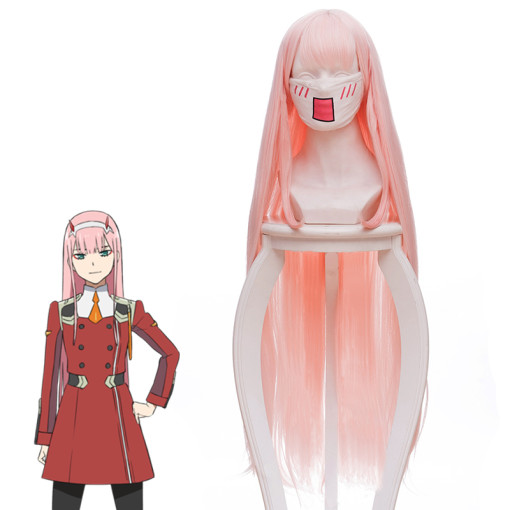 Rulercosplay DARLING in the FRANXX 02 ZERO TWO Long Straight Pink Anime Cosplay Wigs