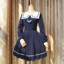 Rulercosplay Lovely Sailor Lolita Navy Cotton Dress Anime Cosplay Costumes Wholesaler Resaler