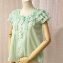 Pleated Lace Sleeves Chiffon Lolita Blouse 3 Colors