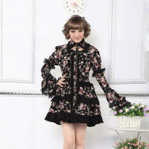 Black Polyester Printing Knee-length Dress Long Sleeve Sweet Lolita Dress
