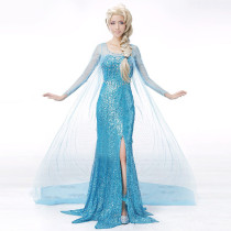 Frozen Elsa Cosplay Costume Snow Queen Blue Dress