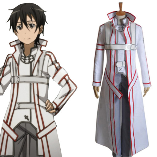 Rulercosplay Sword Art Online I Kirito Cross Knight White Uniform Cosplay Costume Wholesaler Resaler