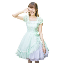 Fashion Chiffon Green Knee-length Short Sleeves Dress With Lace Sweet Lolita Dress Anime Cosplay Cus