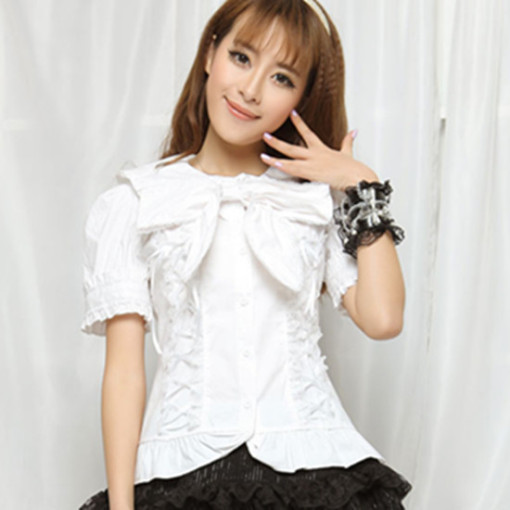 Sailor Collar Short Sleeves Pleated Princess Lace Sweet Lolita Blouse with Bowknots