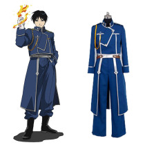 Rulercosplay FullMetal Alchemist Roy Mustang Blue Uniform Cloth Cosplay Costume Wholesaler Resaler