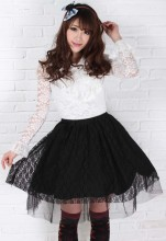 Customized Pleated Black Knee-length Sweet Lolita Skirt with Rose Lace Lolita Fashion
