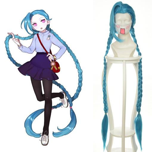 Rulercosplay LOL Jinx Blue Cosplay Anime Wigs Wholesaler Resaler