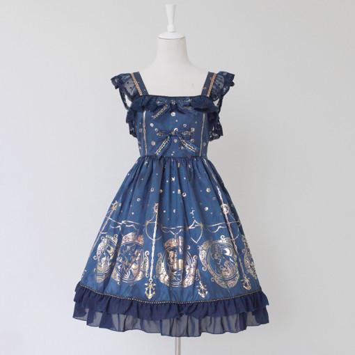Rulercosplay Customized Lovely Hot Stamping Chiffon With Bowknot Lolita Vest Dress 3 Colors Anime Co