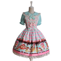 Lolita Fashion Cotton Keen-length Flower Prints  Sweet Lolita Dress Anime Cosplay Custome.