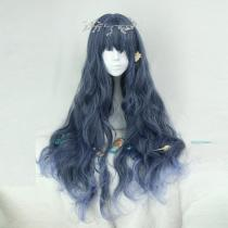 Rulercosplay Sweet Harajuku Original Long Curly Blue Mixed Lolita Wigs