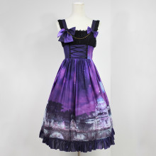 Rulercosplay Customized Vatican Castle Pattern Lolita Chiffon Vest Dress 3 Colors Anime Cosplay Cost