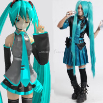 Rulercosplay Hatsune Miku Pattern Blue Cotton Battle Dress Cosplay CostumeWholesaler Resaler