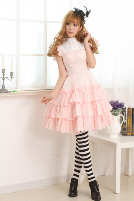 Sleeveless Knee-length Pink Multilayer Princess Dress Sweet Lolita Dress Customize