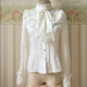 White Chiffon Trumpet-Sleeves Slim Lace Lovely Women Sweet Lolita Blouse