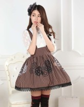 Lace Brown Knee-length Sweet Lolita Skirt with Gears Prints Customized Lolita Fashion