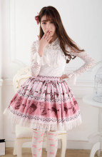 Customized Pleated Pink Knee-length Sweet Lolita Skirt with Birds Prints and Lace Lolita Fashion