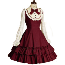Long Sleeves Knee-length Princess Lovely Lolita Cotton Dress