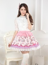 Sweet Lolita Pink Knee-length Lace Pleated Skirt with Desserts Prints Customized Lolita Fashion
