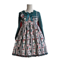 Lolita Fashion Rabbit and Poker Pattern High Waist Long Sleeve Cotton Sweet Lolita Dress