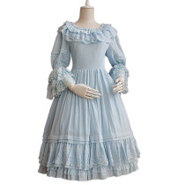 Lolita Fashion Keen-length Chiffon Louts Leaf Sleeve Sweet Lolita  Dress Anime Cosplay Custome.