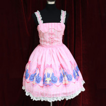 Rulercosplay Customized Cute Rabbit Pattern Chiffon And Lace With Bowknot Braces Dress 2 Colors Whol