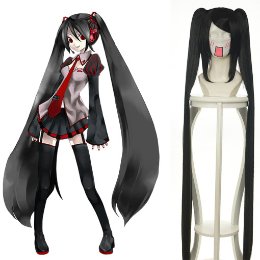 Rulercosplay Zatsune Miku Vocaloid Black Long Straight Heat Resistant Fiber 120 Cm Cosplay Anime Wig