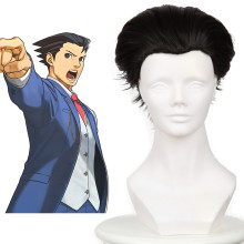 Rulercosplay Ace Attorney Naruhodo Ryuichi Black Short Anti-Alice Cosplay Wigs Wholesaler Resaler