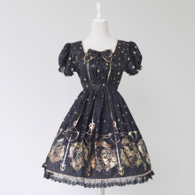 Rulercosplay Customized Hot Stamping Polyester Short Sleeves Lolita Dress 2 Colors Anime Cosplay Cos