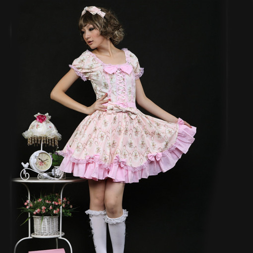 Pink Polyester Knee-length Dress Short Sleeve with Headwear Sweet Lolita Dress