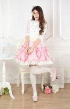 Knee-length Customized Sweet Lolita Pink Pleated Lace Skirt with Little Birds Prints Lolita Fashion