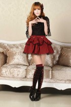 Squares and Lace Customized Red Knee-length Sweet Lolita Skirt Lolita Fashion