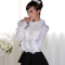 White Slim Falbala Puff Long Sleeves POLO Collar Princess Lace Sweet Lolita Blouse