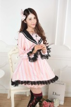 Long Sleeves Knee-length Pink Princess Dress with Black Lace Sweet Lolita Dress Customize