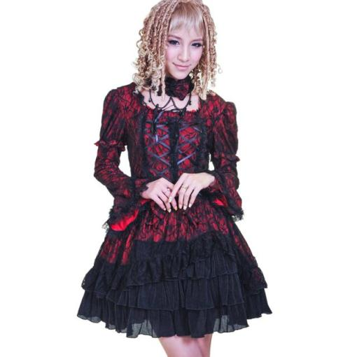 Polyester Lotus Leaf Sleeve Dress Knee-length Gothic Lolita Dress