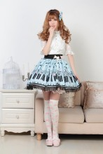 Pleated Blue Knee-length Customized Sweet Lolita Skirt with Piano Keyboard Prints and Lace Lolita Fa