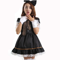 Black Short Sleeves Knee-length with Lace Gothic Lolita Dress
