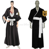 Rulercosplay Bleach 7th Division Lieutenant Iba Tetsuzaemon Black Uniform Cloth Cosplay Costume Whol